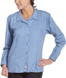 Dickies   FL010 Women's Stretch Poplin Classic Shirt   Long Sleeve, Size XX Small, Color Light Blue