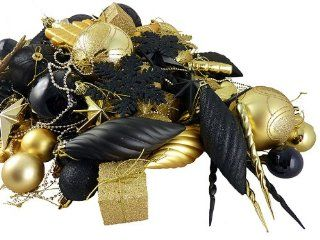 125 Piece Club Pack of Shatterproof Swanky Black & Gold Christmas Ornaments   Christmas Ball Ornaments