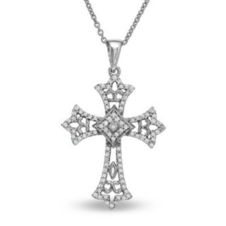 CT. T.W. Diamond Antique Style Cross Pendant in Sterling Silver
