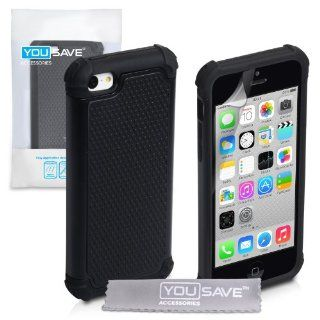 iPhone 5C Case Black Tough Grip Combo Silicone Cover Cell Phones & Accessories