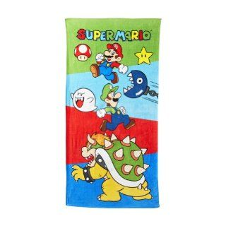 "Super Mario Brothers Super Mario Luigi Beach Towel Bath Towel 28""W X 58""L   Childrens Bath Towels"