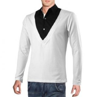 Man Fake Two Pieces Design Long Sleeve Point Collar Fashion Shirt at  Men�s Clothing store