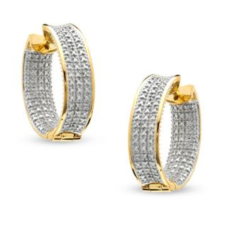 Diamond Accent Huggie Hoop Earrings in Sterling Silver and 18K Gold