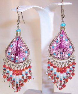 Red, Woven String Teardrop Dangle Earrings with White and Blue Beads Jewelry