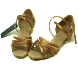 Colorfulworldstore Five classic bronze with satin of Child Girls Latin Dance Shoes Bronze(EU28~EU35) Shoes