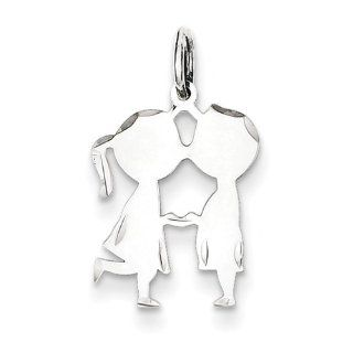 Sterling Silver Engraveable Boy/Girl Disc Charm 16mmx13mm Pendants Jewelry