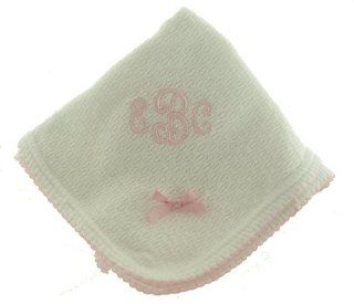 Paty Inc Infant Baby Girls White Monogrammable Blanket with Pink Trim  Nursery Blankets  Baby