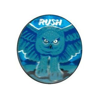 Rush   Fly By Night   Owl with Logo Above in Blue Tones   Enamel Pin / Button Clothing