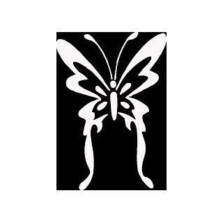 "12"" WHITE Butterfly with long tails and antennae. Vinyl die cut bumper sticker decal for any smooth surface such as windows bumpers laptops or any smooth surface.   Wall Decor Stickers"