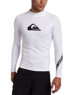 Quiksilver Men's All Time Long Sleeve Rashguard, White, X Large at  Men�s Clothing store