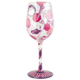 Santa Barbara Design Studio GLS11 5526J Lolita Love My Wine Hand Painted Glass, Golf Anyone Kitchen & Dining