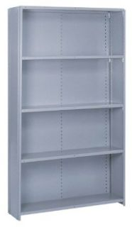 "Lyon DD8460H Commercial Stand Alone Closed Offset Angle Shelving with 5 Heavy Duty Shelves, 48"" Width x 12"" Depth x 84"" Height, Dove Gray"