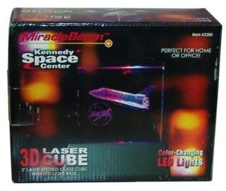 "CLOSE OUT OVER STOCK SALE WHYLE SUPPLIES LAST KENNEDY SPACE CENTER 3D LASER CUBE ALSO COLOR CHANGING LED LIGHTS PERFECT FOR HOME OR OFFICE 2"" LASER ETCHED GLASS CUBE WITH LED LIGHT BASE Toys & Games"