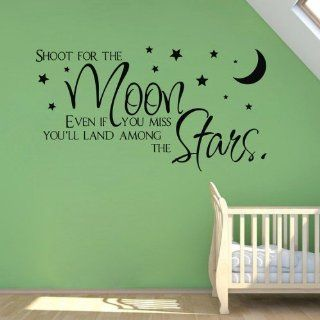 WallStickersUSA Wall Sticker Decal, Shoot for The Moon Land Among The Stars, Medium  Nursery Wall Stickers  Baby