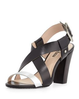 Victoria Two Tone Cross Front Chunky Sandal, Black/Silver