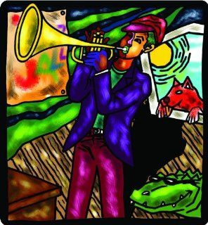 "8"" TRUMPET MAN Printed vinyl decal sticker for any smooth surface such as windows bumpers laptops or any smooth surface."