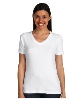 Red Dot Cotton Knits S/S Mid V Neck Womens T Shirt (White)