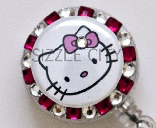 Solo Face Hello Kitty (Hot Pink) Rhinestone Badge Reel/ ID Badge Holder for Nurses, Teachers and anyone with an ID Badge to display  Identification Badges