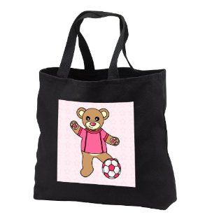 Cute Soccer Player Teddy Bear Girl   Black Tote Bag 14w X 14h X 3d Kitchen & Dining