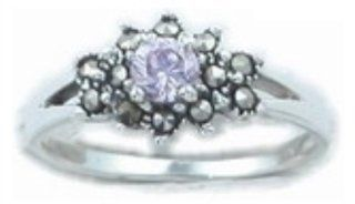 Size 6 Round Cut Lavender Cubic Zirconia Ring Surrounded by Marcasites Jewelry