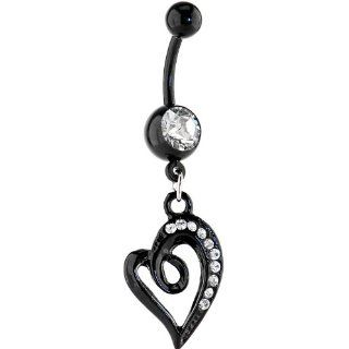 Bioplast Black Swirl Gem Heart Dangle Belly Ring Body Piercing Rings Jewelry