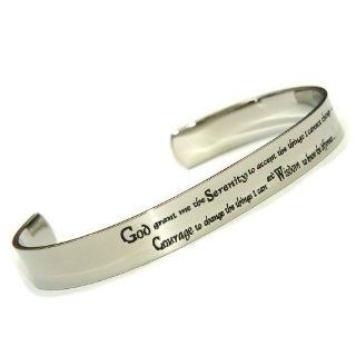 High Polished Stainless Serenity Prayer Cuff Bracelet Stainless Steel Bracelet Quotes Jewelry