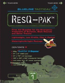 ResQ PAK Level 1 ResQ Pak is a vacuum sealed Personal Aid Kit containing First Aid Supplies for the emergency (self) treatment of Gunshot Wounds, Stab Wounds, Other Trauma. ResQ Pak is Lightweight, Low Profile, Fits in Pocket, Watertight, Airtight Package