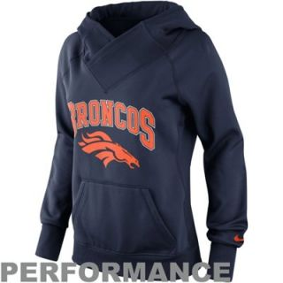 Nike Denver Broncos Ladies Wildcard Pullover Performance Hoodie   Navy Blue