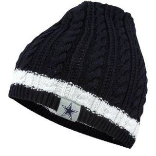 Dallas Cowboys Womens Rim Uncuffed Rib Knit Beanie   Navy Blue