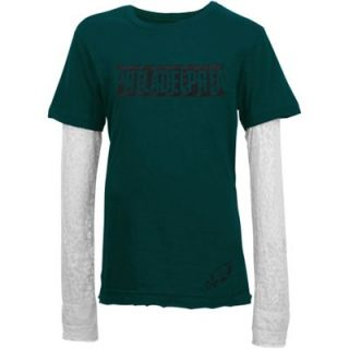 Philadelphia Eagles Youth Girls Layered Long Sleeve T Shirt   Midnight Green