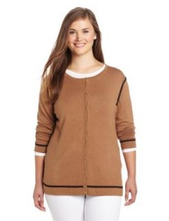 Anne Klein Women's Cardigan, Camel/Chocolate, 0X