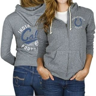 Junk Food Indianapolis Colts Ladies Sunday Full Zip Hoodie   Ash