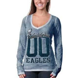 Philadelphia Eagles Womens Double Dye V Neck Long Sleeve T Shirt   Midnight Green