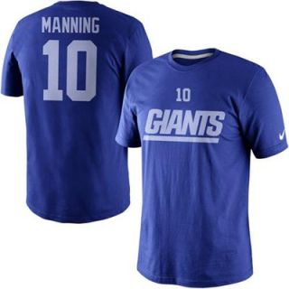 Nike Eli Manning New York Giants Player Name And Number T Shirt   Royal Blue