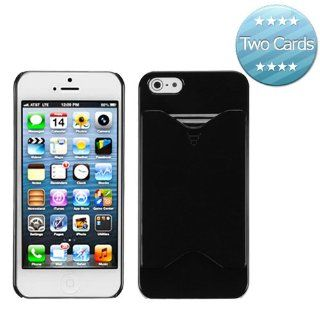 Hard Plastic Snap on Cover Fits Apple iPhone 5 5S Black Card Wallet Back (with 2 Cards) Plus A Free LCD Screen Protector AT&T, Cricket, Sprint, Verizon (does NOT fit Apple iPhone or iPhone 3G/3GS or iPhone 4/4S or iPhone 5C) Cell Phones & Accessor