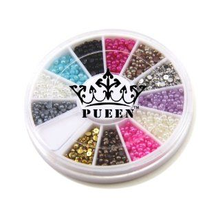 PUEEN 3D Nail Art Wheel of 2mm Round Hemisphere Pearls in 12 Different Colors Gold & Silver High Quality Studs Beads Approx 2000 Pcs  Nail Art Equipment  Beauty