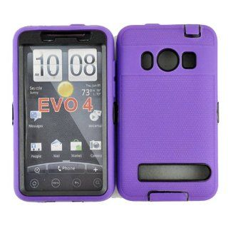 Hard Plastic Snap on Cover Fits HTC EVO 4G PC36100 Armor Purple Black Hybrid Case (Outside Purple Soft Silicone Skin, Inside Black Front and Back Hard Case) Plus A Free LCD Screen Protector Sprint (does not fit HTC EVO 4G LTE) Cell Phones & Accessorie
