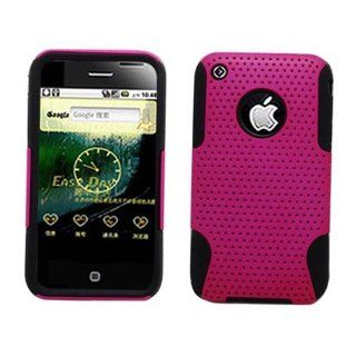 Hard Plastic Snap on Cover Fits Apple iPhone 3G 3GS Hybrid Case Black TPU + Hot Pink NT AT&T (does NOT fit Apple iPhone or iPhone 4/4S or iPhone 5/5S/5C) Cell Phones & Accessories