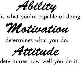Ability is what you're capable of doing. Motivation determines what you do. Attitude determines how well you do it inspirational wall quotes sayings vinyl decals art   Wall Decor Stickers