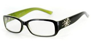 """Venus"" Modern Rectangular Reading Glasses by Ritzy Readers (Green +1.00) Health & Personal Care"
