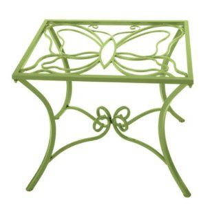 Shop Garden Accent End Table Butterfly Design Glass Top in Lime Finish at the  Furniture Store