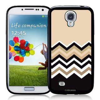 Chevron Zig Zag Pattern   Wheat, Tan, Black, White   Protective Designer BLACK Case   Fits Samsung Galaxy S4 i9500 Cell Phones & Accessories