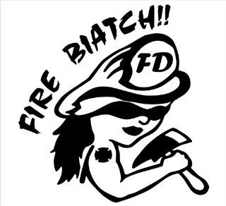 "Firefighter Decals, Fire Biatch, Decal Sticker Laptop, Notebook, Window, Car, Bumper, EtcStickers 5""in. in BLACK Exterior Window Sticker with"