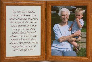 5x7 Hinged GREAT GRANDMA Poem Oak Picture Photo Frame ~ A Wonderful Gift Idea for Great Grandma for Valentines Day, Birthday or Christmas from the Great Grandkids   Double Frames