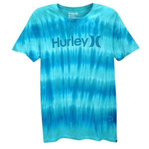 Hurley One & Only Tie Dye Short Sleeve T Shirt   Mens   Casual   Clothing   Bright Aqua