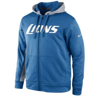 Nike NFL Therma Fit Performance F/Z Hoodie   Mens   Football   Clothing   Detroit Lions   Battleblue