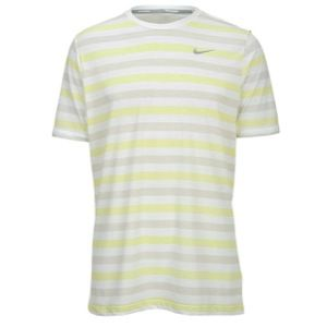 Nike Dri FIT Touch Tailwind Striped T Shirt   Mens   Running   Clothing   White/Volt/Reflective Silver