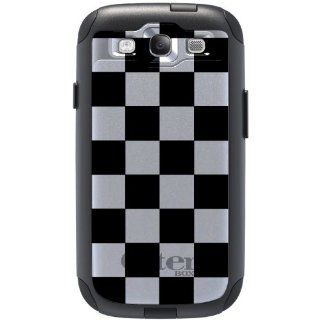 CUSTOM OtterBox Commuter Series Case for Samsung Galaxy S3 S III   Black & White Checkered Flag Squares Geometric Print Pattern Cell Phones & Accessories
