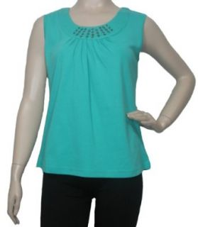 Women's Sleeveless Embellished Top in Aqua by Southern Lady   M Tank Top And Cami Shirts