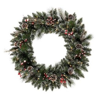 Vickerman 30 in. Pre Lit Snow Tip Pine and Berry Wreath   Christmas Wreaths